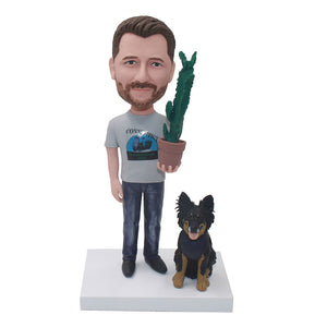 Custom Bobbleheads Dragging A Pot Of Cactus With A Dog - Abobblehead.com