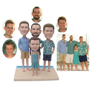 Custom Four People Bobbleheads From Photos, Custom Family Bobbleheads - Abobblehead.com