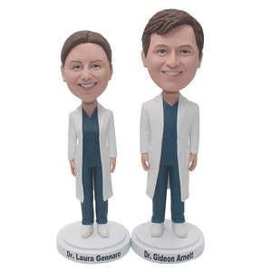 Custom Female And Male Doctor Bobbleheads, Personalized Female And Male Doctor Statues - Abobblehead.com