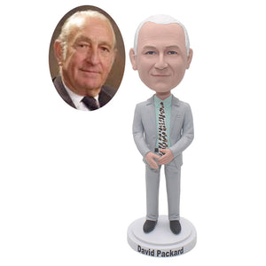 Custom Suit Bobbleheads, Custom Father Bobbleheads Cool Gift For 65 Year Old Man - Abobblehead.com