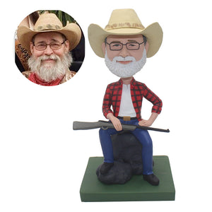 Custom Bobblehead Cowboy With A Gun, Personalized Fathers Day Gifts - Abobblehead.com