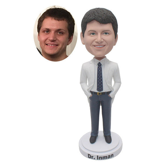 Custom Groomsmen Bobbleheads, Personalized Bridegroom Bobblehead, Make Your Own Gentleman Bobblehead - Abobblehead.com