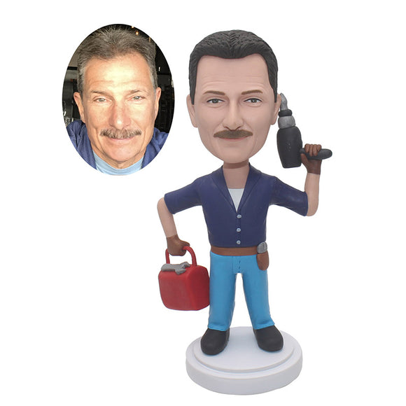 Custom Repairman Bobblehead With Electric Drill And Toolbox - Abobblehead.com