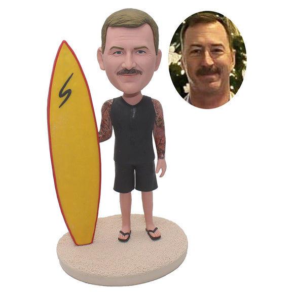 Custom Beach Bobblehead With Surfboard Cool Surfboard Gift - Abobblehead.com
