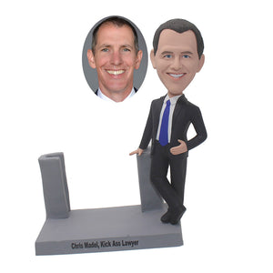 Custom Bobblehead Business Card Holder Man, Personalized Creative Business Card Holders For Desk - Abobblehead.com