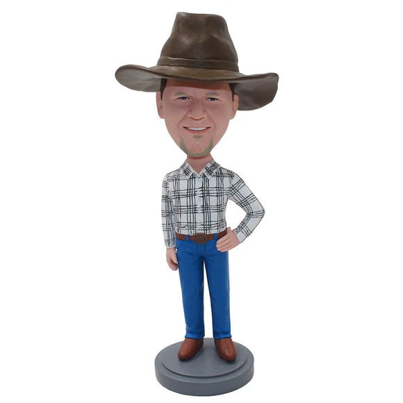 Custom Bobblehead With Cowboys Shirt And Hats - Abobblehead.com