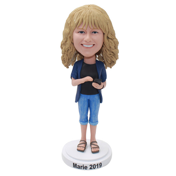 Custom Blonde Beauty Bobbleheads Holding A Mobile Phone, Make Your Own Bobblehead - Abobblehead.com