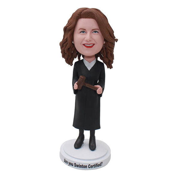 Custom Judge With Gavel Bobblehead, Personalized Judge Bobblehead With a Gavel - Abobblehead.com