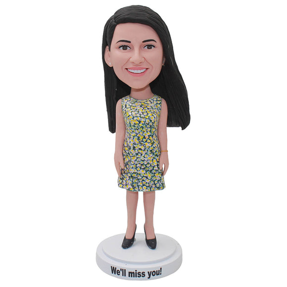 Personalized Bobble Head Women in Dress To Look Like You - Abobblehead.com