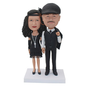 Custom 25th Anniversary Couple Bobbleheads For Wedding Free Shipping - Abobblehead.com