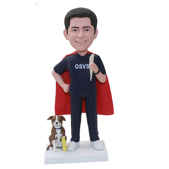Custom Bobblehead Superhero Gifts For Adults, Custom Superhero Bobbleheads With Dog - Abobblehead.com