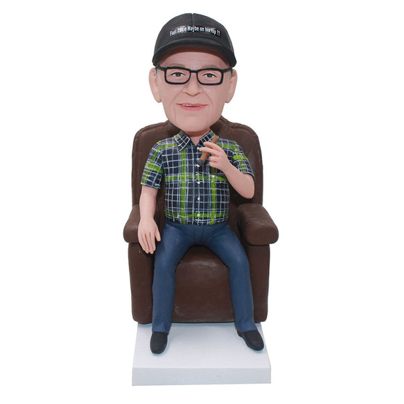 Custom Bobblehead Sitting On The Sofa, Build Your Own Bobblehead - Abobblehead.com