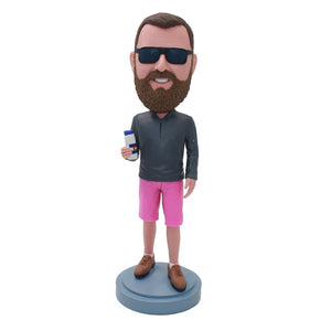 Custom Bearded Bobblehead Holding A Cup For Photos Best Likeness - Abobblehead.com