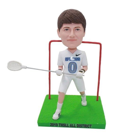 Custom Lacrosse Hockey Goalkeeper Bobblehead, Custom Hockey Bobblehead - Abobblehead.com