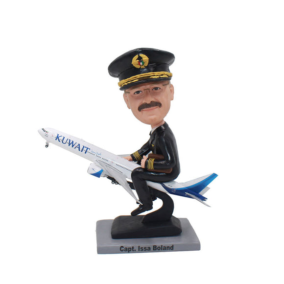 Custom Military Pilot Bobblehead, Custom Captain America Bobblehead Airplane - Abobblehead.com