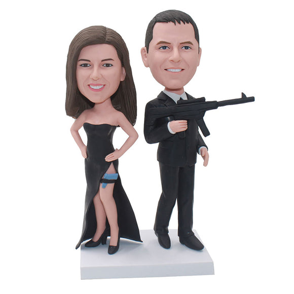 Custom Fbi Agent Bobblehead Couple, Personalized Secret Service Bobbleheads From Photos - Abobblehead.com