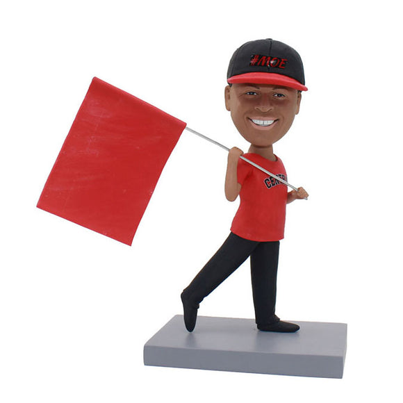 Custom Bobbleheadred With Flag Nice Gifts For Him - Abobblehead.com
