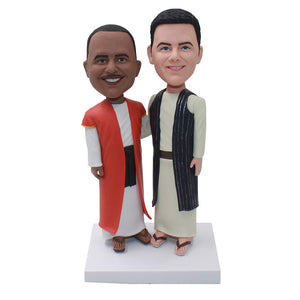 Custom Two Priests Bobbleheads, Customized Bobblehead Catholic Priest - Abobblehead.com