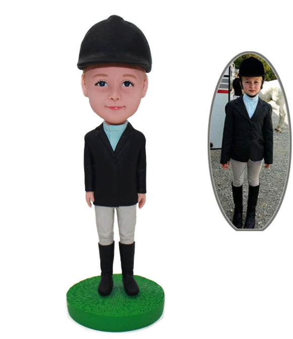 Personalized Kids Bobbleheads Wearing Hat And Riding Dress, Custom Children's Riding Suit Bobbleheads