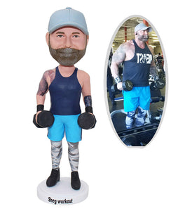 Custom Sports  Bobbleheads Dumbbell Fitness, Personalized Hercules Bobblehead Gifts for Coach - Abobblehead.com