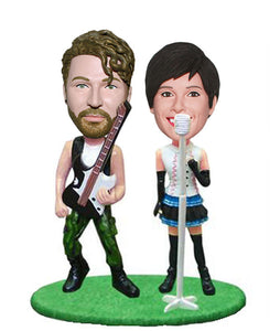 Custom Double Bobbleheads Singing Group, Custom Bobbleheads The Couple Playing guitar and Sing - Abobblehead.com