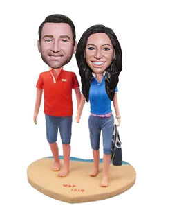 Personalized Bobblehead Beach Couple, Custom Barefoot Couple Figurines - Abobblehead.com