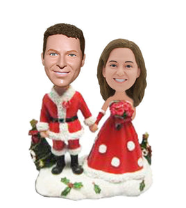 Custom Wedding Couple Bobblehead For Christmas, Personalized Christmas Wedding Cake Topper - Abobblehead.com