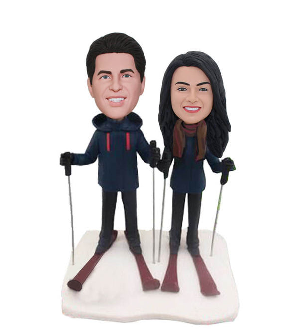 Custom Couple Ski Bobbleheads Gifts for Ski Lovers, Personalized Skier Bobblehead Dolls - Abobblehead.com