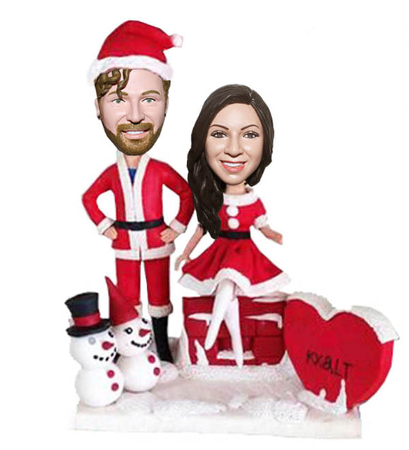 Custom Christmas Couple Bobbleheads Dolls, Christmas Gifts For Someone that Loves Himself - Abobblehead.com