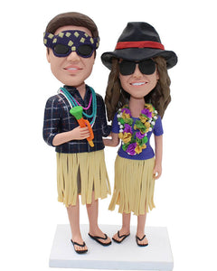 Custom Personalized Couple Bobbleheads Gifts For Honeymoon Trip - Abobblehead.com