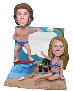 Custom Couple Beach Bobbleheads Figurine Surfing by The Sea - Abobblehead.com