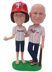 Custom Baseball Couple Bobbleheads That Look Like You, Personalized Baseball Bobbleheads For Parents - Abobblehead.com