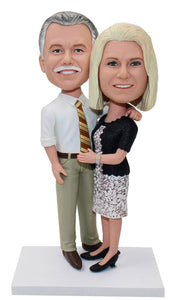 Custom Couple Bobbleheads For Old Shirt Tie Man and Lady - Abobblehead.com