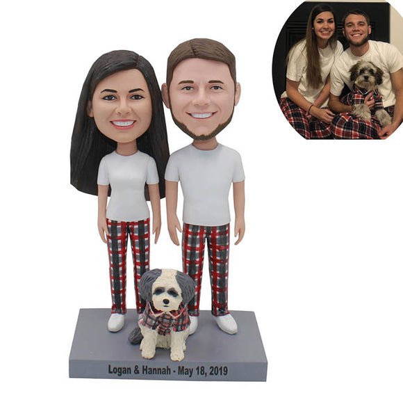 Custom Lovers Bobbleheads Wearing Sweethearts Outfit With A Dog - Abobblehead.com