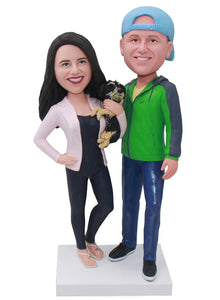 Custom Bobblehead Couple With Dog, Personalized Anniversary Couple Bobblehead Free Shipping - Abobblehead.com
