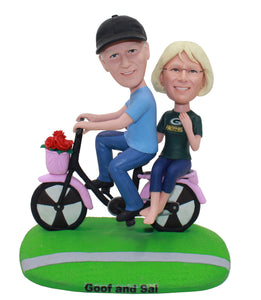 Personalized Couples Bobbleheads Riding A Bicycle With  Flower Basket - Abobblehead.com