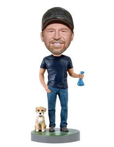 Custom Bobbleheads Man and Dog From Photo - Abobblehead.com