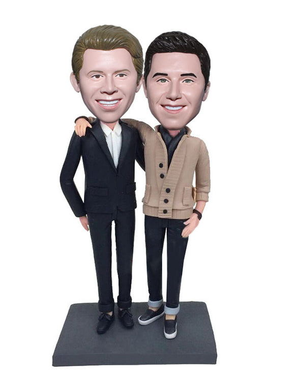 Custom Two Men Bobblehead Doll Made From Photo, Custom Bobblehead Brothers - Abobblehead.com