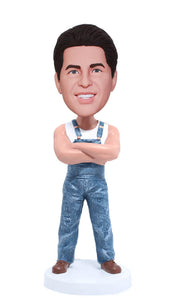 Custom Worker Bobble Head Denim Overalls Doll, Custom Muscle Man Bobblehead - Abobblehead.com