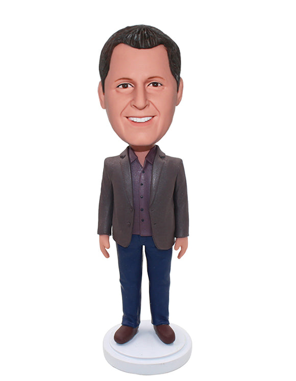 Cheap Custom Jacket Bobble Heads From Photo For Father & Colleague & Friend & Husband - Abobblehead.com