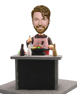 Custom Cooking Bobbleheads Doll, Personalized Cook Chef Bobbleheads Male - Abobblehead.com