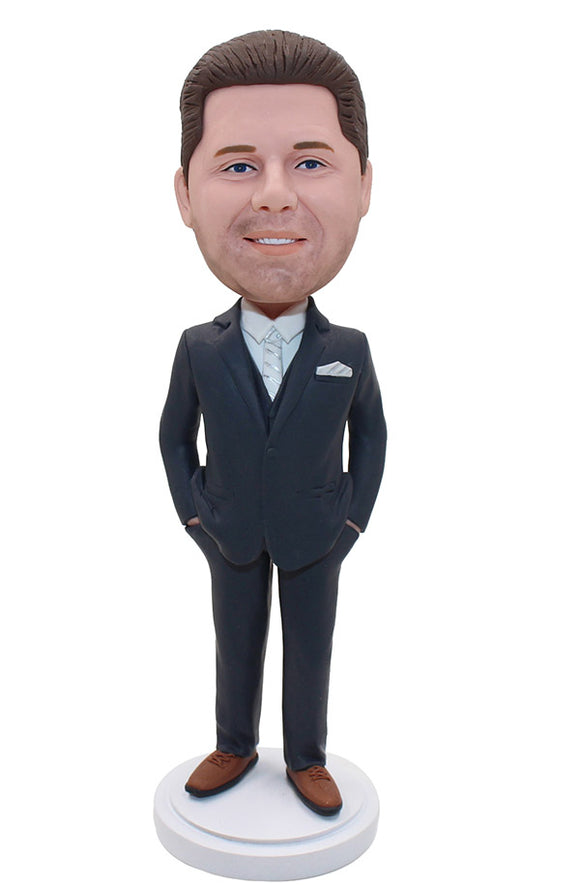 Custom Bobbleheads Groomsmen, Personalized Suit Bridegroom Gift Bobblehead - Abobblehead.com