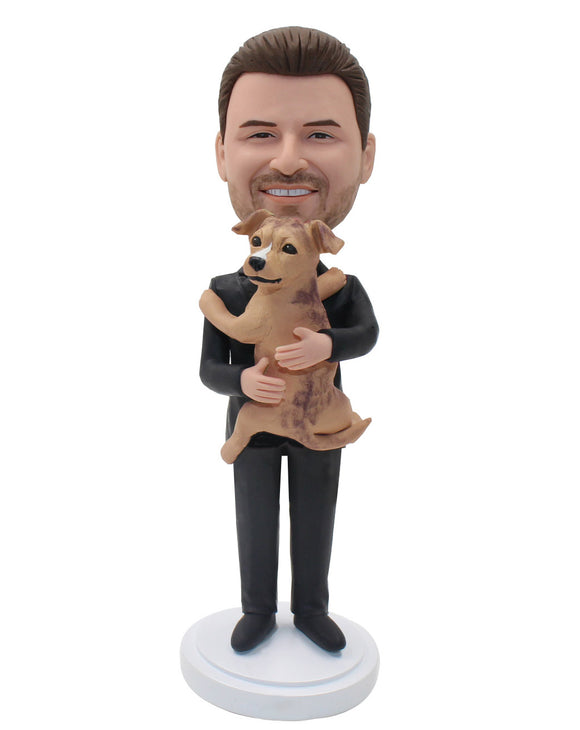 Custom Bobble Head People And Pets, Custom Bobblehead With Dog From Photo - Abobblehead.com