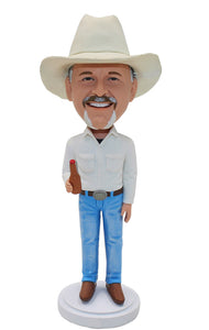 Custom Cowboy Bobbleheads With Beer Bottle Gifts For Men - Abobblehead.com