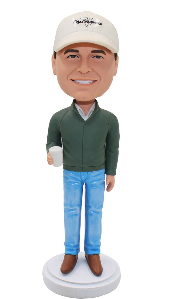 Customized Hand Holding A Cup Bobblehead Dolls - Abobblehead.com