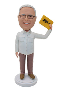 Custom Old Man Bobblehead Figurine With Trips Card - Abobblehead.com