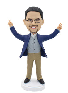 Fully Customizable Bobblehead That Looks Like You Quick Shipping Peace Sign - Abobblehead.com