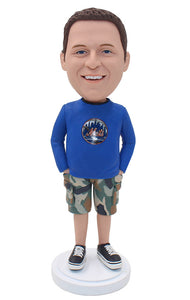 Bobblehead Custom Casual Male In T-shirt, Create Your Own Bobblehead Male Casual Attire - Abobblehead.com