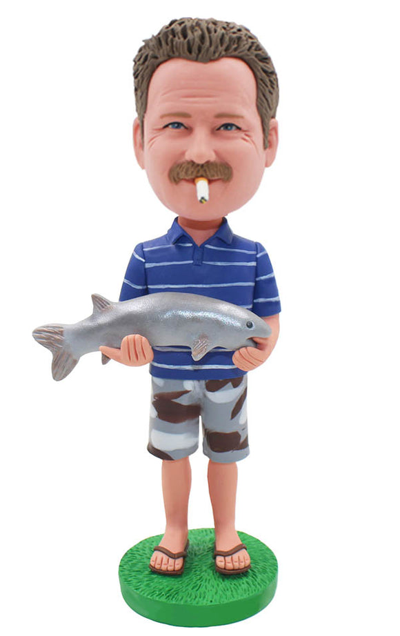 Custom Bobble Head With Fish, Custom Made Fisher Man Bobblehead - Abobblehead.com