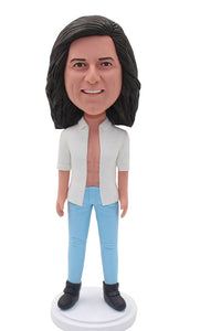 Custom Male Bobble Head With White Shirt and Blue Jeans - Abobblehead.com